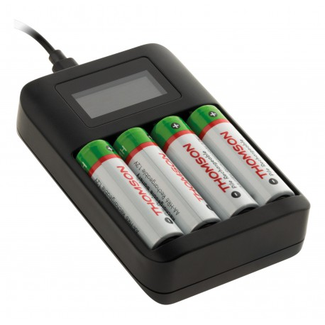 Chargeur de piles USB compatible AA AAA - Thomson