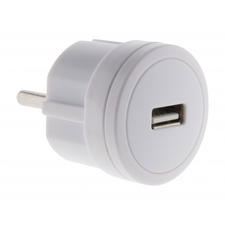 Chargeur USB 2,1A compact Blanc