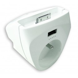 Chargeur iPhone 4 Blanc 1x16A + 1 USB + 1 dock iPhone 4