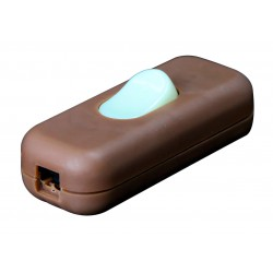 Interrupteur 2A Bipolaire Luminescent Marron