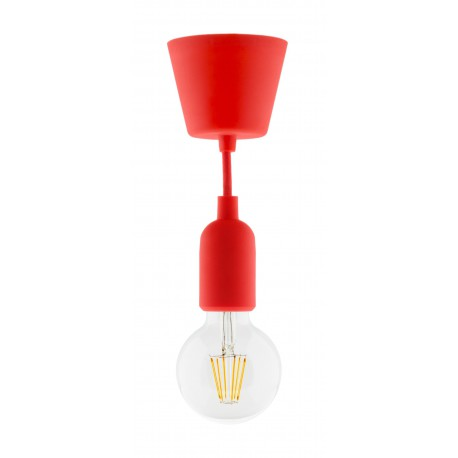 Kit de suspension déco rouge en silicone avec cordon textile et ampoule LED filament globe 6W E27