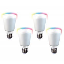 Pack de 4 ampoules LED multicolores connectées 7W B22